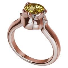 18 Karat Rose Gold Ceritfied Yellow Sapphire 1.37 Carat Tulip Ring