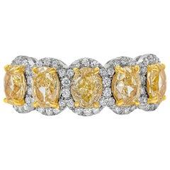 2.51 Carat Oval Cut Vivid Yellow Diamond Halo Five-Stone Ring
