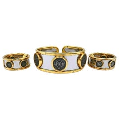 Marina B Vintage Yellow Gold Silver Stainless Steel Soleil Set