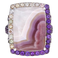 Agate 18Kt White Gold Ring Set with Agate Amethyst and Tourmaline One of a Kind