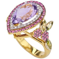 Amethyst Pear Floral Colorful 18kt Gold Ring with Rubys Peridots and Diamonds