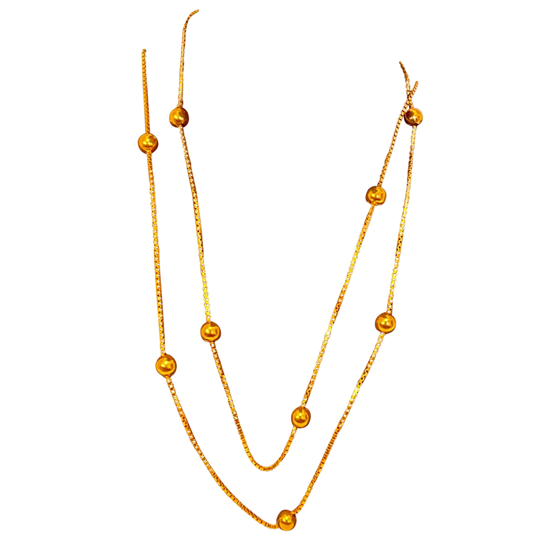 Vintage 18 Karat Yellow Gold Box Chain Ball Necklace