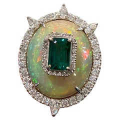 9.2 Carat Opal and Emerald Cocktail Ring