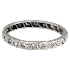 Vintage Deco Diamond Band Platinum Wedding Ring Etched Vintage Jewelry