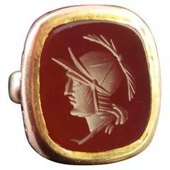 Antique Victorian Carnelian Seal Fob, 9 Karat Yellow Gold, Roman Soldier