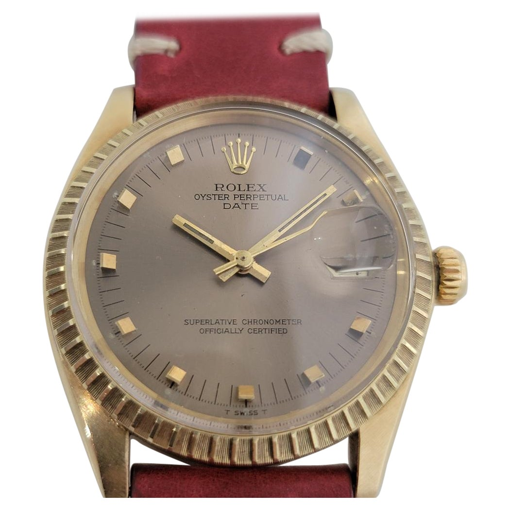 Mens Rolex Oyster Perpetual Date 1503 14k Solid Gold Automatic 1970s RJC120