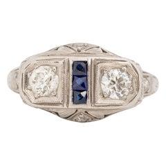 Circa 1920's Art Deco Platinum Old European Cut Diamond and Sapphire Ring