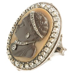 18 Kt Gold Ring with Late 1800s French Moretto Cameo and Diamond Rosettes
