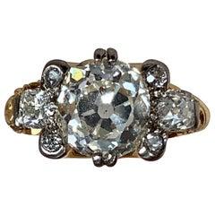 Large Victorian 4.1 Ct Old European Cut Diamond 18k Yellow Gold Ring
