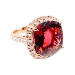 Natural 11.55 Cts Pink Tourmaline & Rose Cut Diamond Statement Cocktail Ring