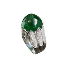 Certified Emerald and Diamond Cocktail Ring