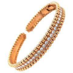 18KT Rose Gold 1.85Ct Diamond Bracelet with Beaded Edge