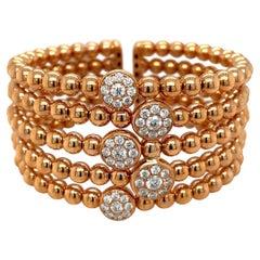 Cellini Five-Row Beaded 18KT Rose Gold, 2.19Ct. Diamond Cuff Bracelet