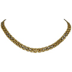 18 Karat Yellow & White Gold Heavy CZ Encrusted Panther Link Necklace