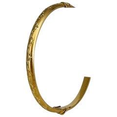 14 Karat Yellow Gold Ladies Diamond Cut Satin Finish Bangle Bracelet