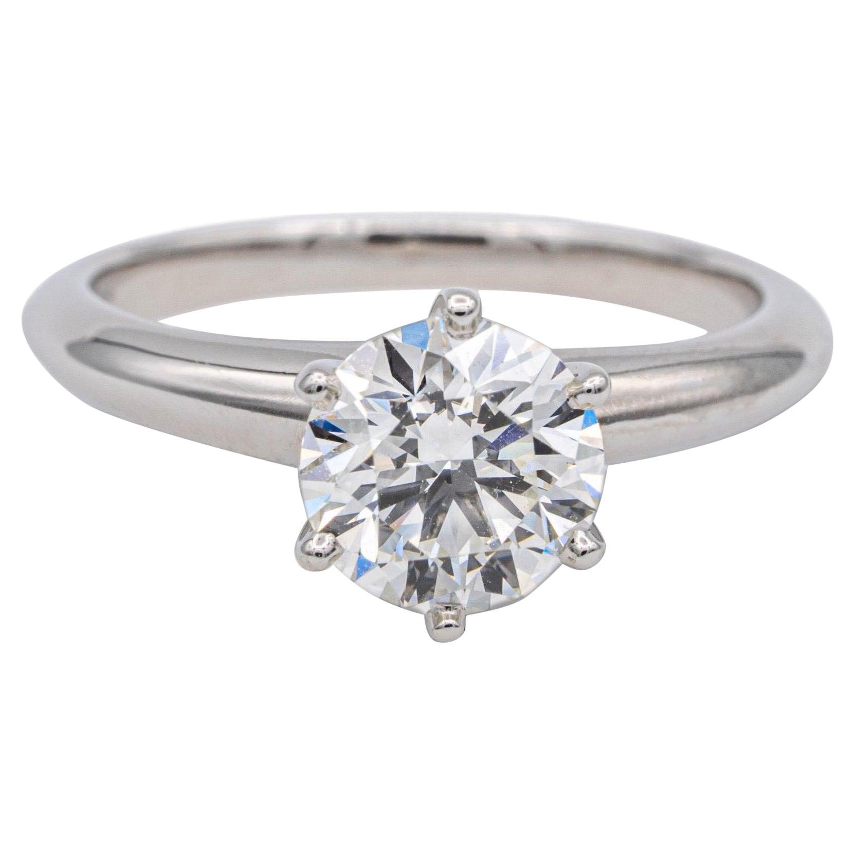 Tiffany & Co. Round Diamond Engagement Ring 1.26 Ct I VS1 in Platinum