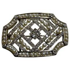 Large Art Deco Platinum Natural Pearl & Diamond Brooch 1920's
