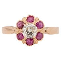 18K Rose Gold GIA Certified Diamond w/Ruby Halo & French Hallmark Fashion Ring