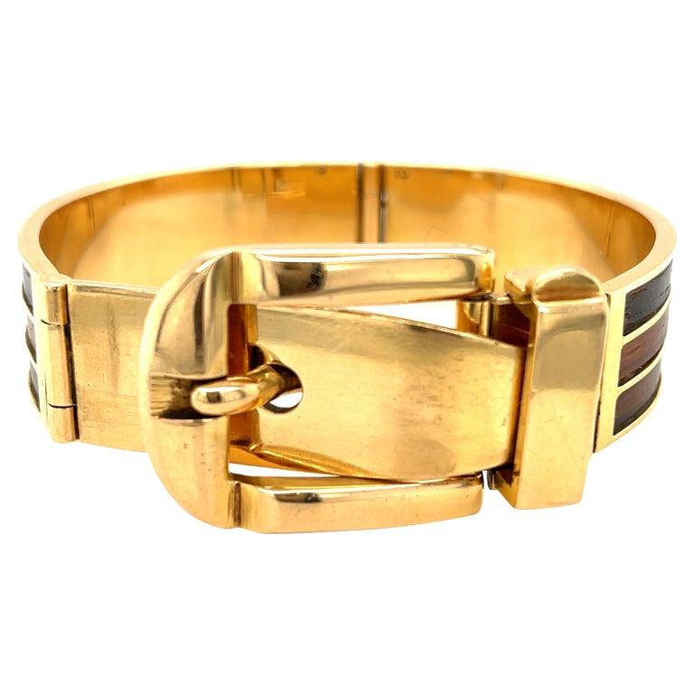 Vintage 18 Karat Gold Gucci Wood Buckle Bracelet For Sale