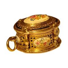 Gold and Enamel Vinaigrette Box Pendant Charm