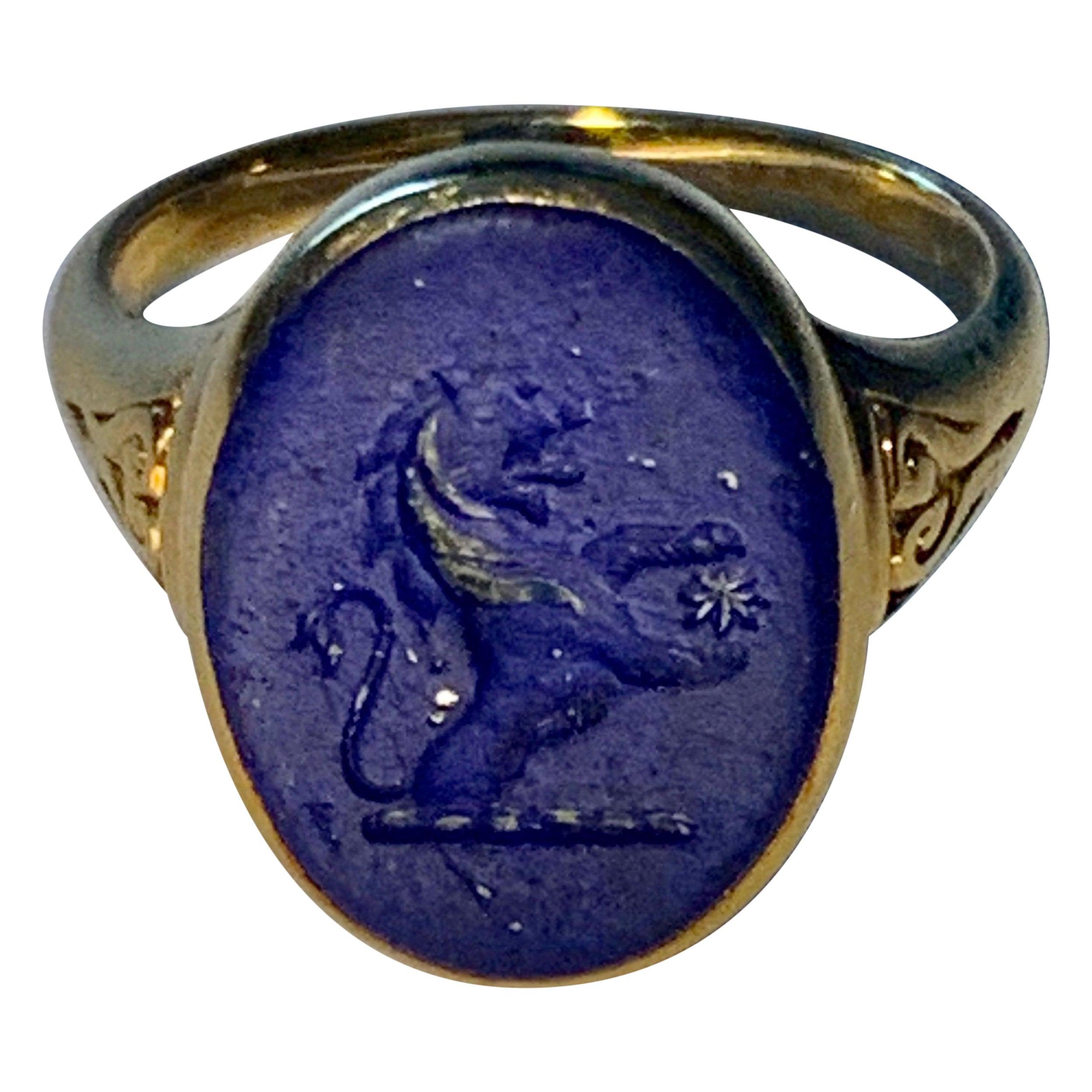 Lovely Antique Lapis Lazuli Gold Armorial Signet Ring 18k Gold