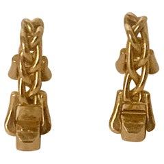 Superb Pair Hermes Paris Mid Century Stirrup Cufflinks 18ct Gold, Circa 1965
