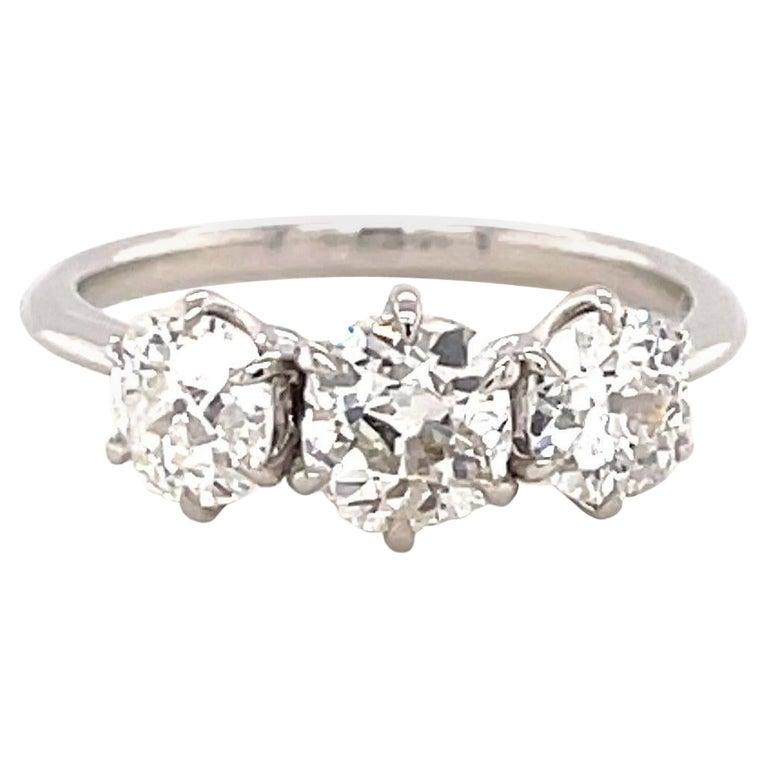 1.85 Carat Old Mine Cut Diamond Platinum Three Stone Ring For Sale