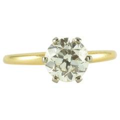 Antique 1.40 Carat Solitaire Diamond Engagement Ring