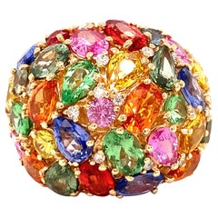 Effy Diamond, Sapphire and Tsavorite Multi Color Cluster Ring