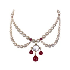 Marina J. Graduated Pearl, Ruby and 14K Yellow Gold, Chandelier Necklace