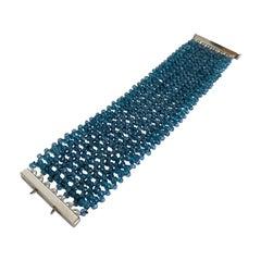 Marina J. Wide Woven London Blue Topaz Beaded Bracelet with Silver Clasp