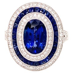 Sapphire and Diamond Oval Vintage Inspired Ring