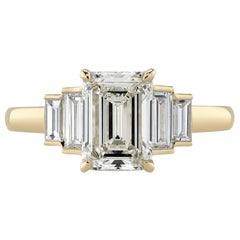 Handcrafted Caroline Emerald Cut Diamond Ring by Single Stone