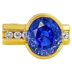 5 Carat Oval Cut Natural Blue Ceylon Sapphire Set in Platinum Ring