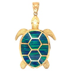 Turtle Pendant in 14k Yellow Gold with Black Opal Enlay