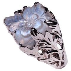 Сarved Moonstone White Gold Ring Flower Shape Natural Burmese Stone Unisex