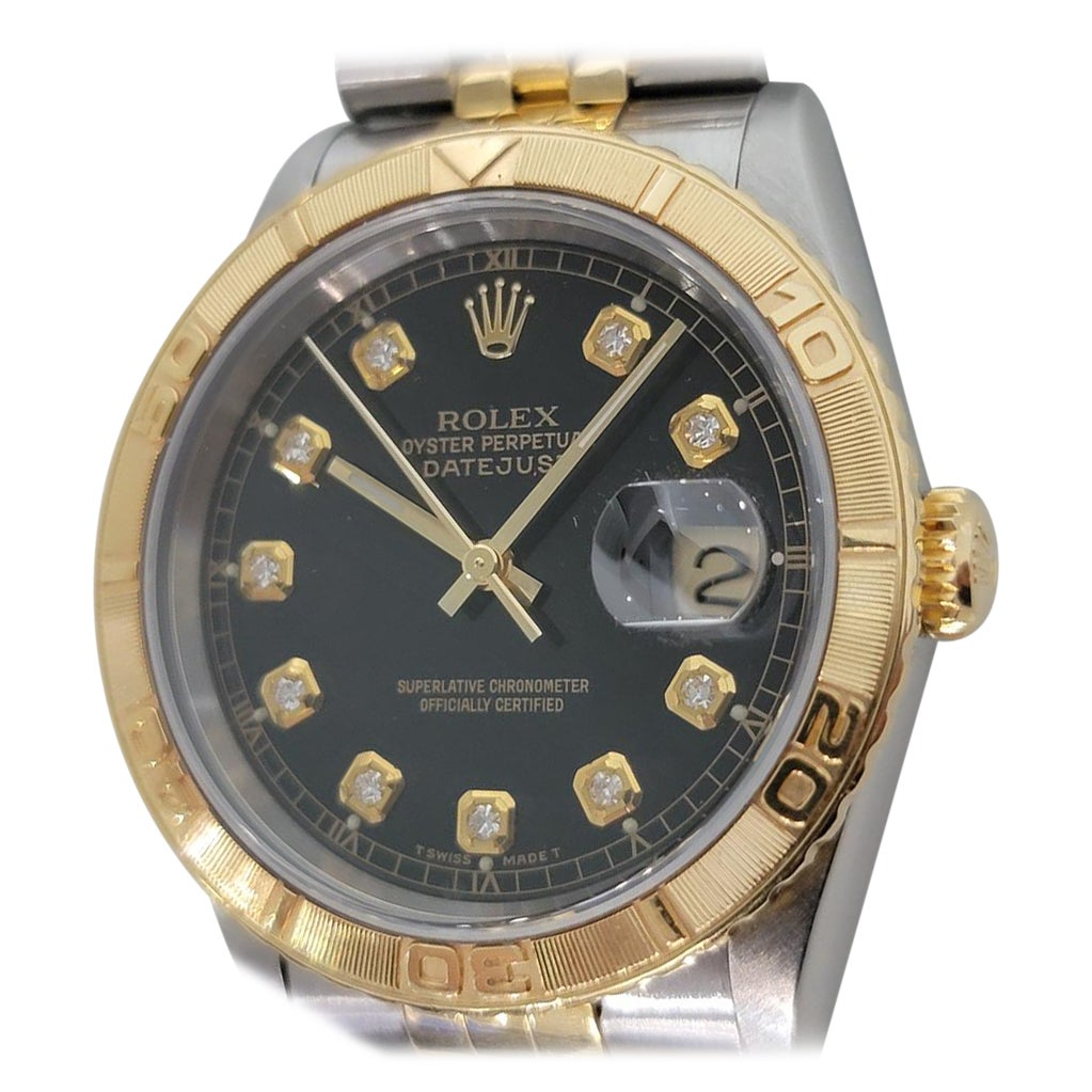 Mens Rolex Oyster Datejust 16263 18k SS Automatic Diamond Dial 1990s RJC130