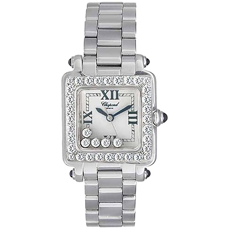 Chopard Lady's White Gold Happy Sport 5 Floating Diamonds Wristwatch
