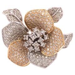 14K Diamond Flower Ring Two-Tone Gold