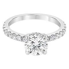 1.43ctw Round Brilliant Cut Diamond, I SI1, 18k White Gold Engagement Ring