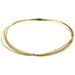 Marco Bicego Designer, Masai, Three Strand Diamond Necklace in 18-K Yellow Gold