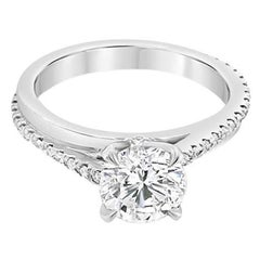 1.02ctw Round Brilliant Cut Diamond, F SI1, 14k White Gold Bypass Style Ring