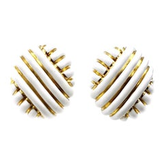 Andrew Clunn Vintage White Enamel Yellow Gold Clip-On Earrings