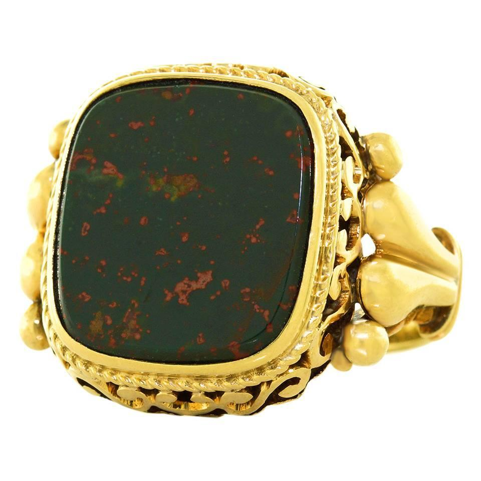 unusually antique bloodstone gold signet ring for