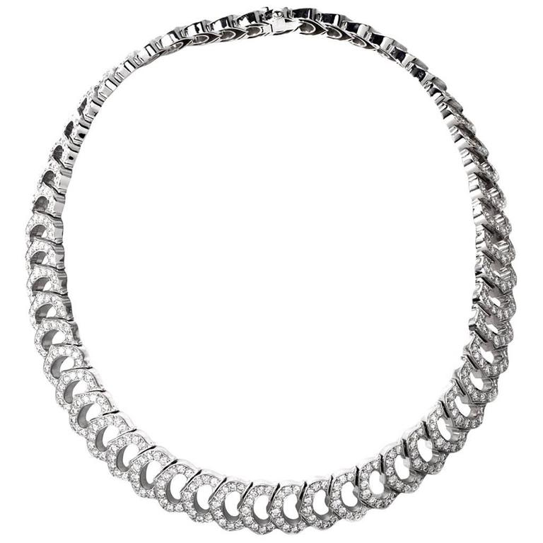 Cartier French Diamond Gold Choker Necklace