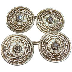 Early Art Deco Classic Greek Key Center Diamond Platinum Gold Cufflinks