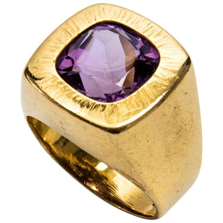 Awesome Cushion Cut Amethyst Gold Statement Ring For Sale