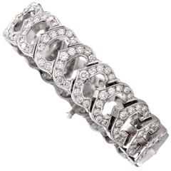 Cartier Diamond 18 Karat White Gold Link Bracelet