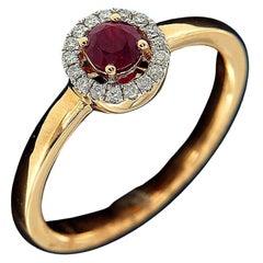 18 Karat Pink Gold, Ruby, and Diamond Fashion Ring