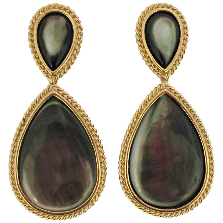 Pear Shaped Abalone Mother-of-Pearl Gold Drop Earrings with Rope Twist For Sale